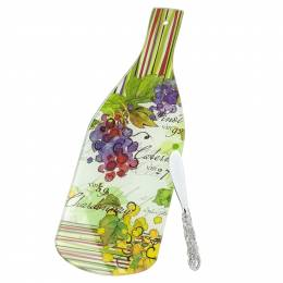 Counter Art Vin 27 Wine Bottle Glass Cheese Board and Spreader