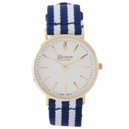 A.N. Enterprises Striped-Band Watch in Navy and White
