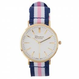 A.N. Enterprises Striped-Band Watch in Navy and Pink