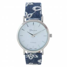 A.N. Enterprises Silver Eyelet Band Watch in Denim