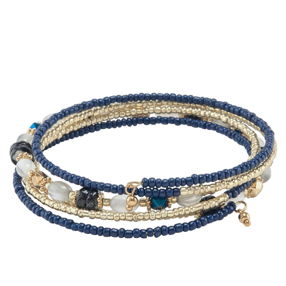 Mia and Tess Seed Bead Coil Bracelet in Navy