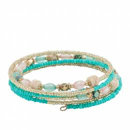 Mia and Tess Seed Bead Coil Bracelet in Turquoise