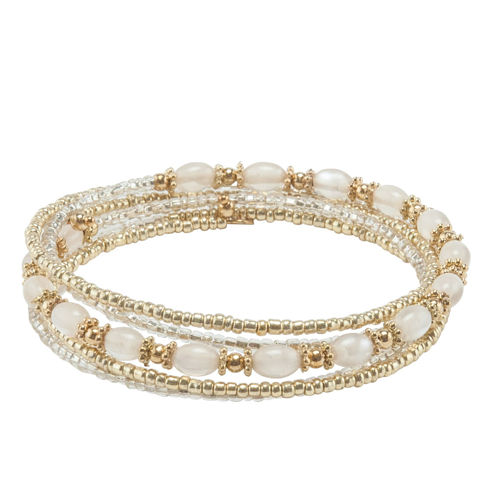 Mia and Tess Two-Tone Seed Bead Coil Bracelet in Gold and Clear