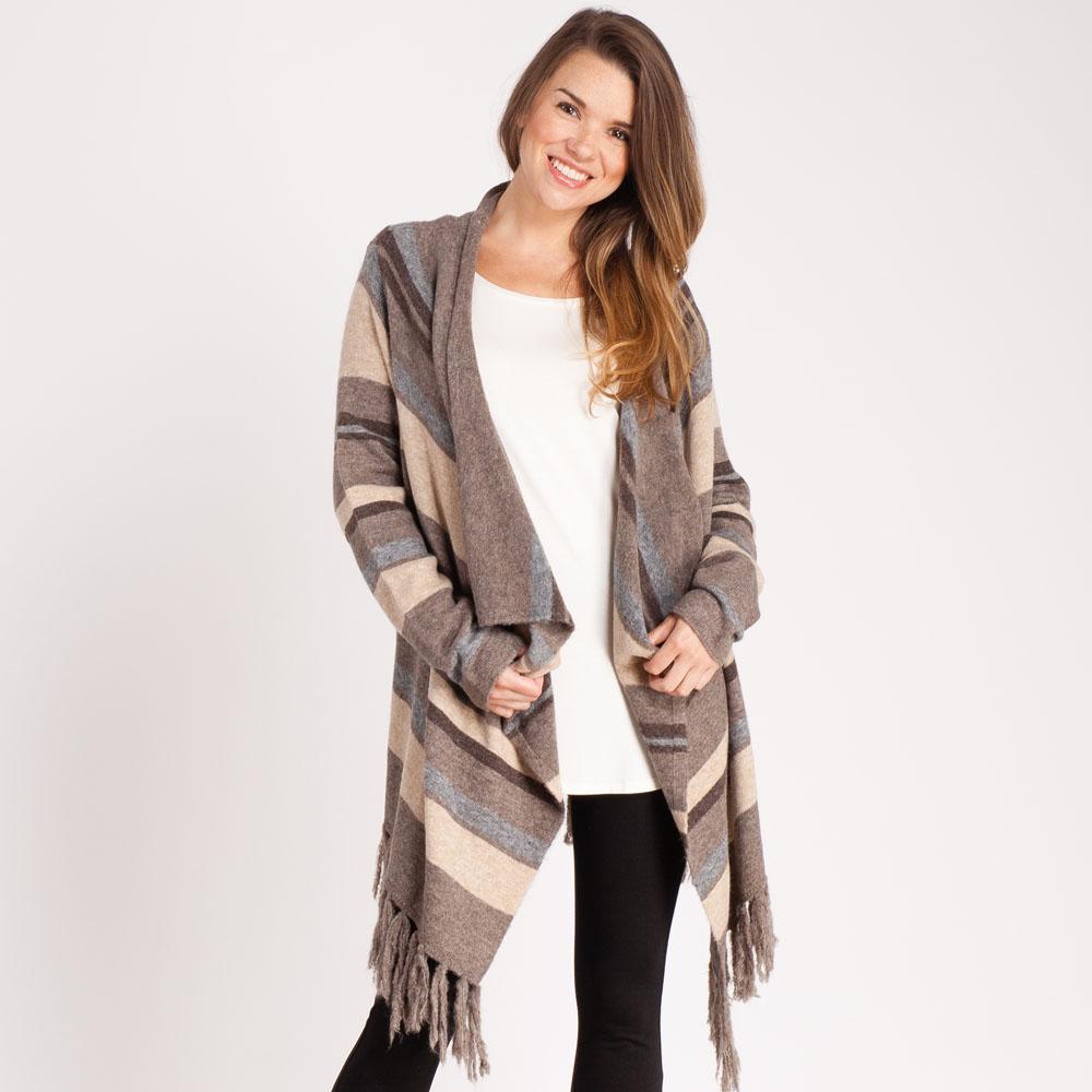 Mia   Tess Designs ™ Striped Flyaway Cardigan | The Paper Store