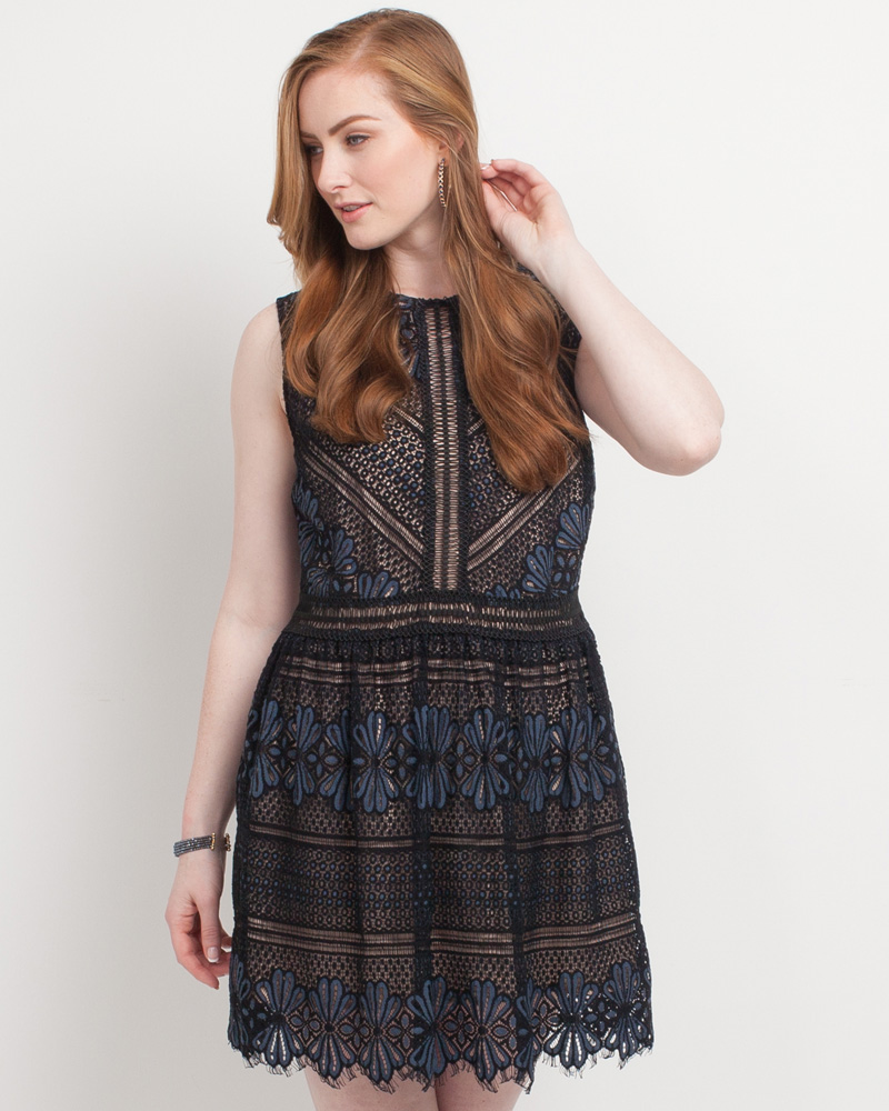 c655bac0d5 Mia + Tess Designs ™ Exclusive Floral Lace Dress in Black and Navy | The  Paper Store