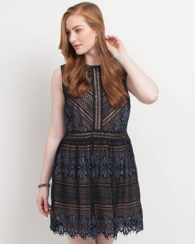 Exclusive Floral Lace Dress in Black and Navy