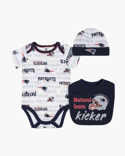 New England Patriots Baby Bib, Hat and Bodysuit Set