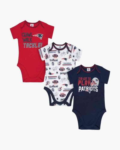 New England Patriots Baby Short Sleeve Bodysuit 3-Pack