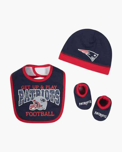 New England Patriots Baby Bib, Hat and Booties Set