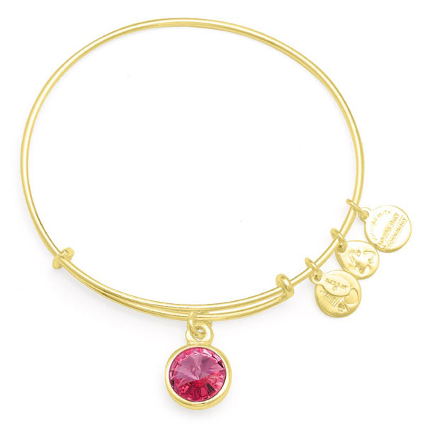 Alex and Ani October Birthstone Charm Bangle in Shiny Gold