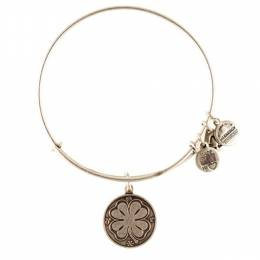 Alex and Ani Four Leaf Clover Charm Bangle in Rafaelian Silver Finish