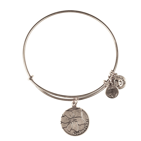 Alex and Ani Godmother Charm Bangle in Rafaelian Silver Finish