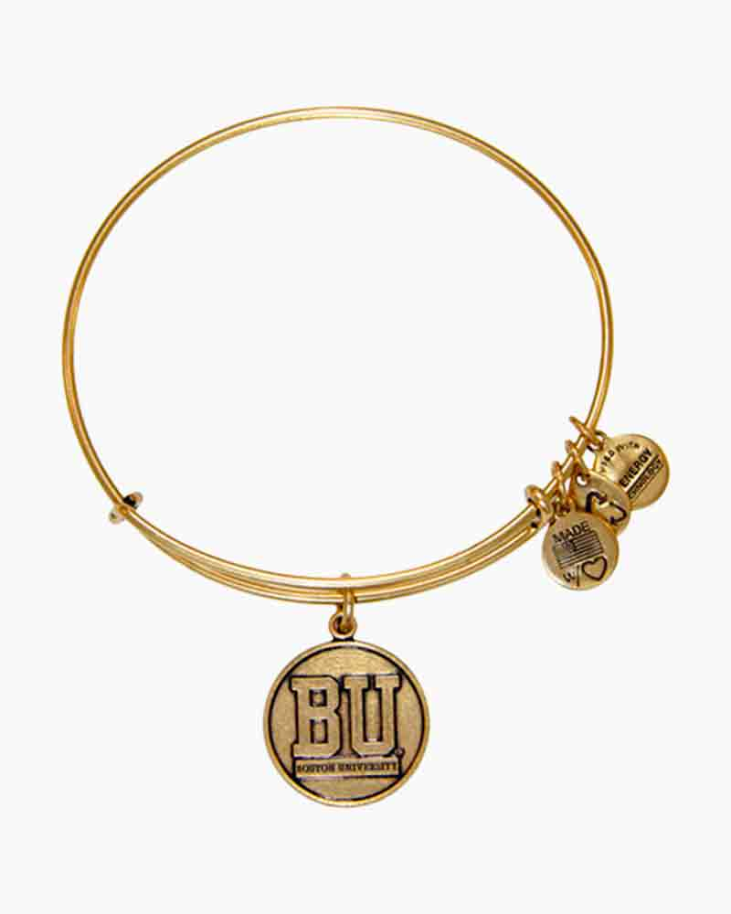 Alex and Ani Boston University Charm Bangle in Rafaelian Gold Finish