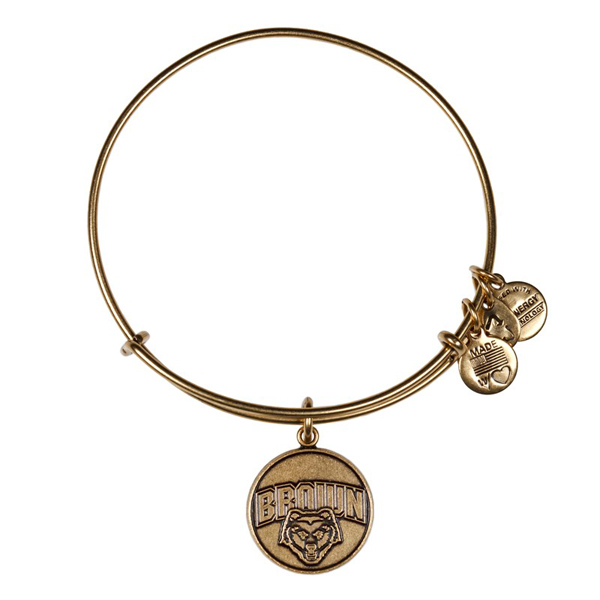 Alex and Ani Brown University Mascot Charm Bangle in Rafaelian Gold Finish
