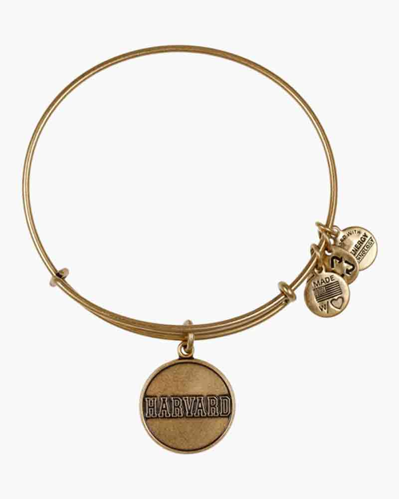 ALEX AND ANI Harvard University Logo Charm Bangle in Rafaelian Gold Finish