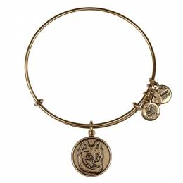 ALEX AND ANI Northeastern University Mascot Charm Bangle in Rafaelian Gold