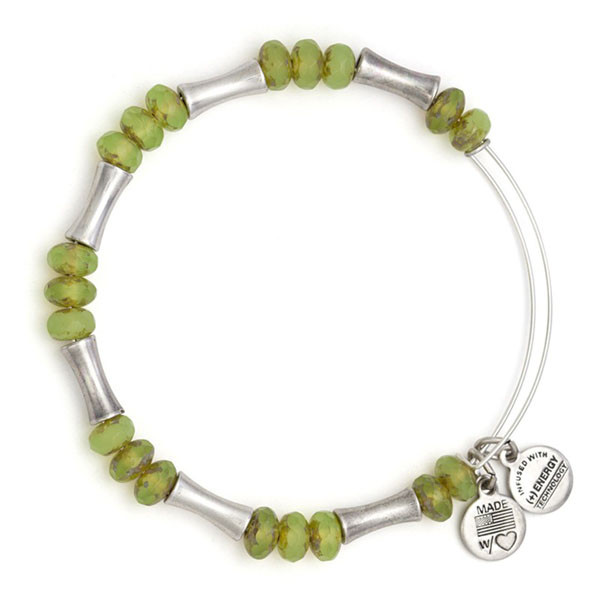 Alex and Ani Mantis Glade Beaded Bangle in Rafaelian Silver Finish
