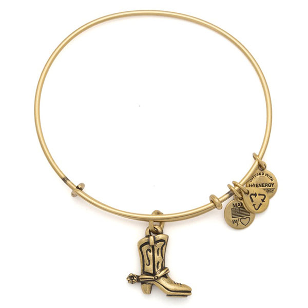 Alex and Ani Cowboy Boot Charm Bangle in Rafaelian Gold Finish