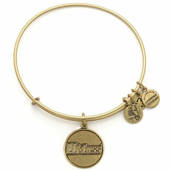 Alex and Ani University Of Massachusetts Amherst Logo Charm Bangle in Rafaelian Gold Finish