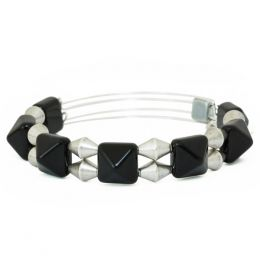 Alex and Ani Impulse Expandable Wire Bangle in Onyx in Rafaelian Silver Finish