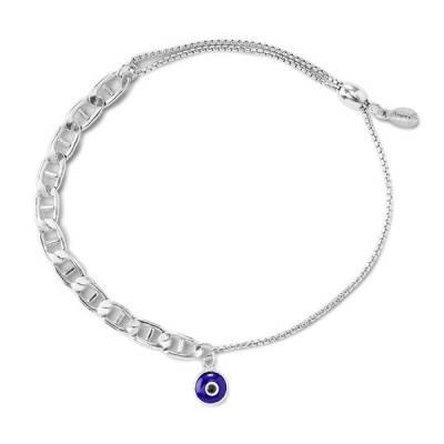 Evil Eye Flat Mariner Pull Chain Bracelet