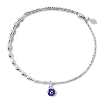 Evil Eye Fancy Bead Pull Chain Bracelet