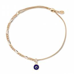 Alex and Ani Evil Eye Oval Figaro Pull Chain Bracelet