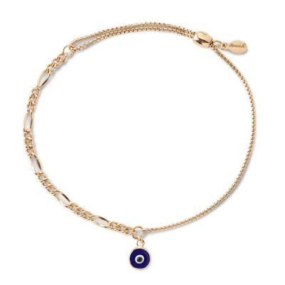 Evil Eye Oval Figaro Pull Chain Bracelet