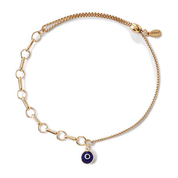 Evil Eye Bar Ring Pull Chain Bracelet