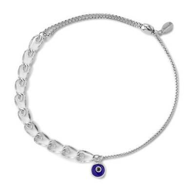 Evil Eye Heart Pull Chain Bracelet