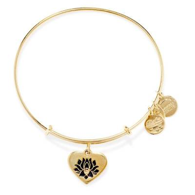 LOTUS PEACE PETALS Heart Charm Bangle