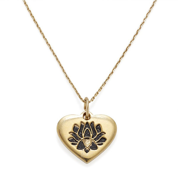 Alex and Ani LOTUS PEACE PETALS Heart Expandable Necklace in Yellow Gold Finish