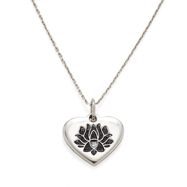 Alex And Ani Lotus Peace Petals Heart Expandable Necklace The