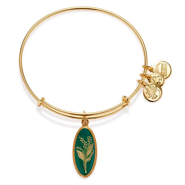 Alex and Ani Purity Of The Heart Lily Of The Valley Charm Bangle in Yellow Gold Finish