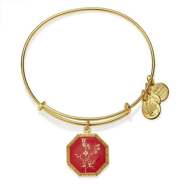 Alex and Ani Neptune's Protection Larkspur Charm Bangle in Yellow Gold Finish