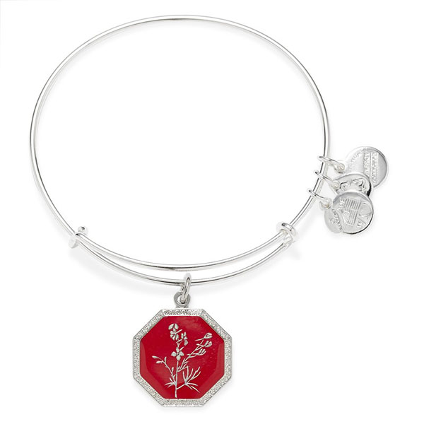 Alex and Ani Neptune's Protection Larkspur Charm Bangle in Shiny Silver Finish