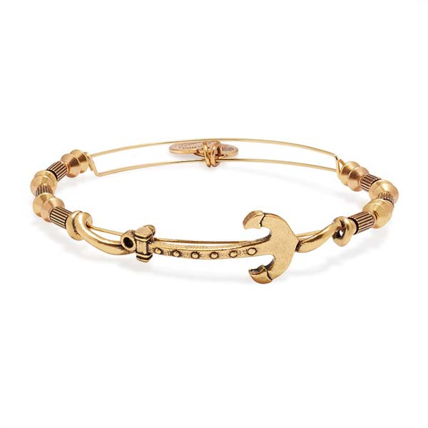 Alex and Ani Anchor Horizontal Bangle in Rafaelian Gold Finish