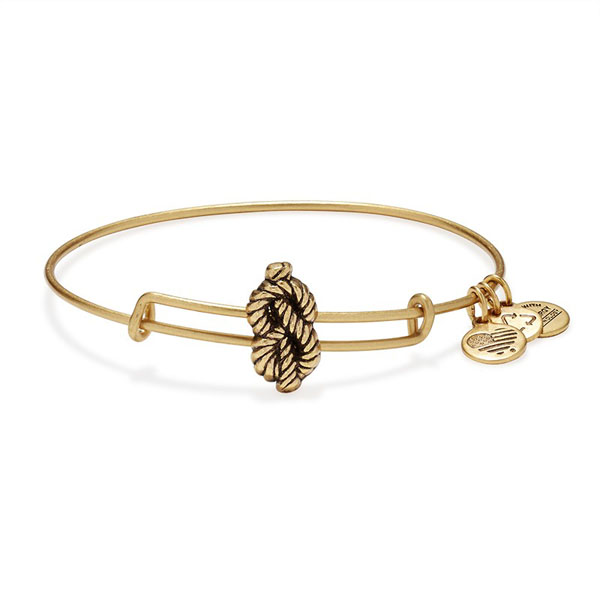 Alex and Ani Sailor's Knot Slider Charm Bangle in Rafaelian Gold Finish
