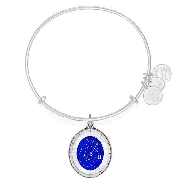 Alex and Ani Gemini Celestial Wheel Charm Bangle in Shiny Silver Finish