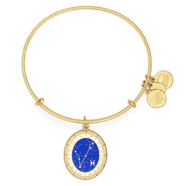 Alex and Ani Pisces Celestial Wheel Charm Bangle in Yellow Gold Finish