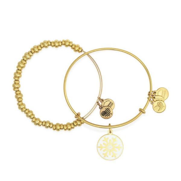 Alex and Ani Snowflake Bangle Set in Yellow Gold