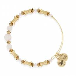 Alex and Ani Rose Quartz Beaded Bangle in Rafaelian Gold Finish