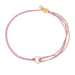 Alex and Ani Kindred Cord (RED) Gold Heart in Dark Pink Pull Cord Bracelet