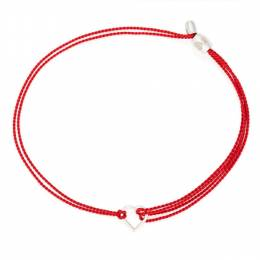 Alex and Ani Kindred Cord (RED) Sterling Silver Heart in Red Pull Cord Bracelet
