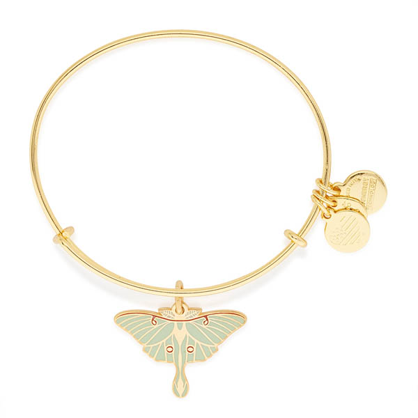 Alex and Ani Luna Moth Expandable Wire Bangle in Shiny Gold Finish