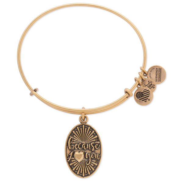 Alex and Ani Because I Love You Charm Bangle in Rafaelian Gold
