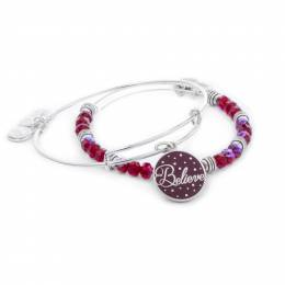 Alex and Ani Believe Color Infusion Expandable Wire Bangle Set of 2 in Wine