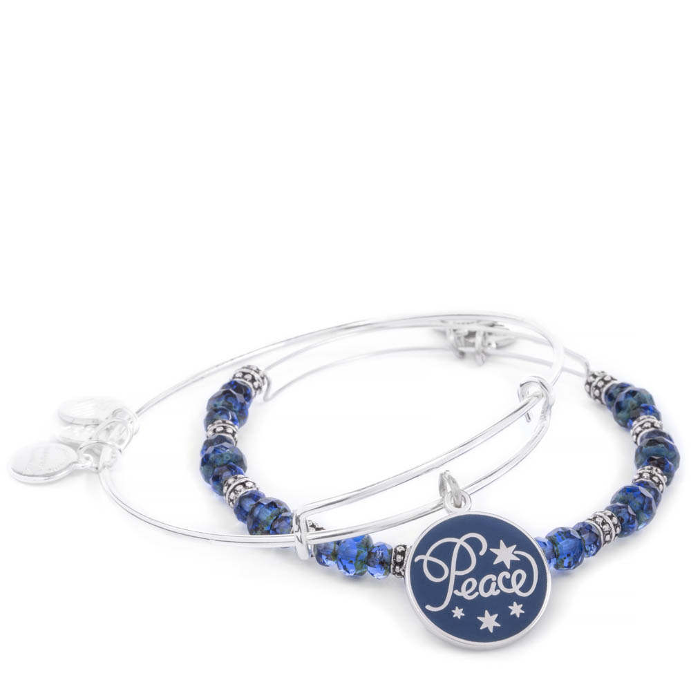 Alex and Ani Peace Color Infusion Expandable Wire Bangle Set of 2 in Navy