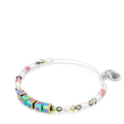 Mirror Swarovski Bead Expandable Wire Bangle
