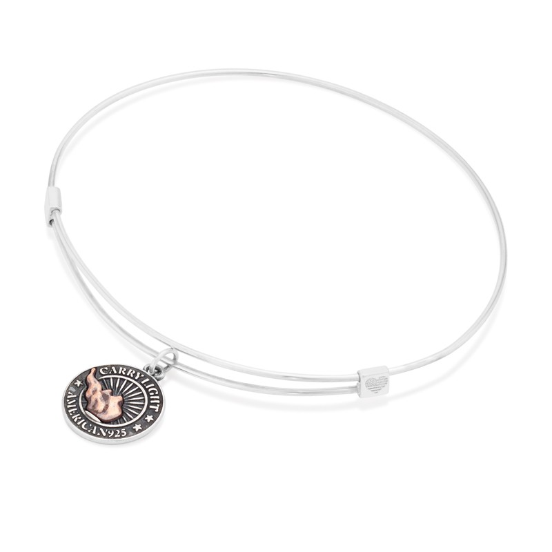 Alex and Ani Small LIBERTY COPPER CARRY LIGHT Charm Bangle